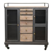 See Details - Mango Wood Sideboard on Casters with 6 Wood Drawers, 3 Glass Doors & 3 Shelves, Truck Ship