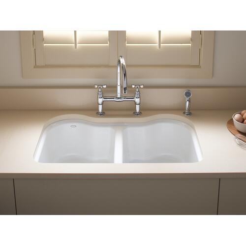 "Biscuit 33"" X 22"" X 9-5/8"" Undermount Double-equal Kitchen Sink With 5 Faucet Holes"