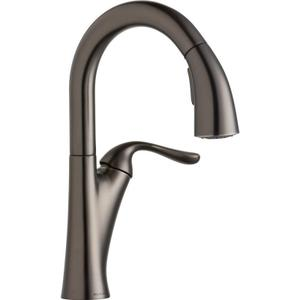 Elkay Harmony Single Hole Bar Faucet with Pull-down Spray and Forward Only Lever Handle Antique Steel Product Image