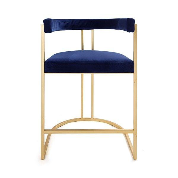 Airy, Refined, and Reminiscent of Old Hollywood, the Cromwell Barrel Back Counter Stool Delivers Modern Glamour To Your Kitchen Island. Luxurious Navy Velvet Upholstery Rests Gently On A Hand-finished Gold Leaf Frame.