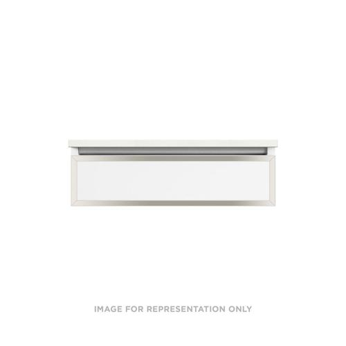 """Profiles 30-1/8"""" X 7-1/2"""" X 21-3/4"""" Modular Vanity In Satin White With Polished Nickel Finish and Slow-close Tip Out Drawer"""