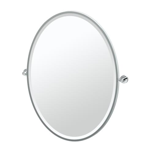 Glam Framed Oval Mirror in Chrome