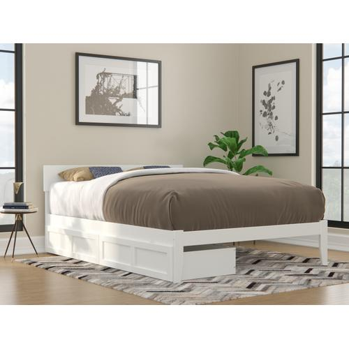 Atlantic Furniture - Boston Queen Bed with 2 Extra Long Drawers in White