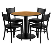 See Details - 36'' Round Natural Laminate Table Set with 4 Grid Back Metal Chairs - Black Vinyl Seat