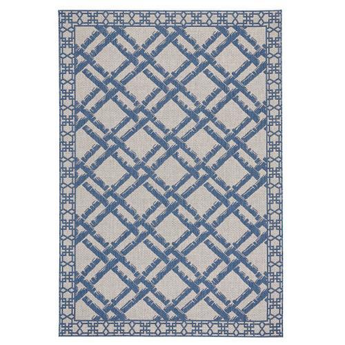 "Finesse-Bamboo Trellis Capri Blue - Rectangle - 5'3"" x 7'6"""