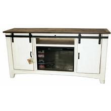 """See Details - 70"""" White/coffee Barn Door Tv/fireplace"""