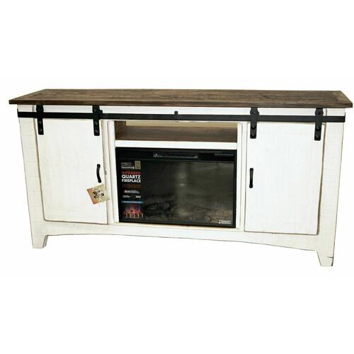 "Million Dollar Rustic - 70"" White/coffee Barn Door Tv/fireplace"