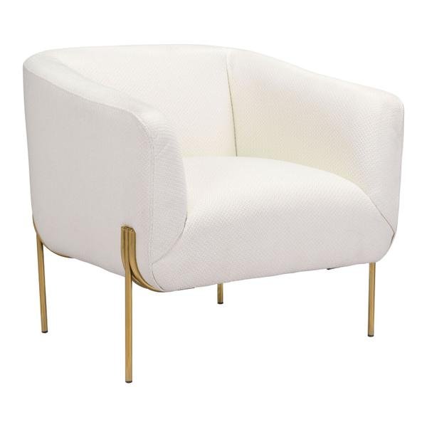See Details - Micaela Arm Chair Ivory & Gold