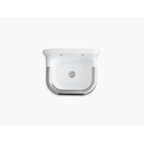 "White 22-1/4"" X 18-1/4"" Wall-mounted or P-trap Mounted Service Sink With Rim Guard and Back Drilled On 8"" Centers"