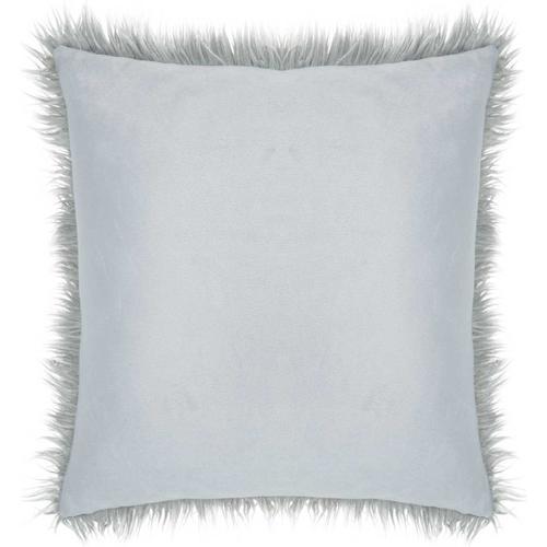 "Faux Fur Bj101 Light Grey 17"" X 17"" Throw Pillow"