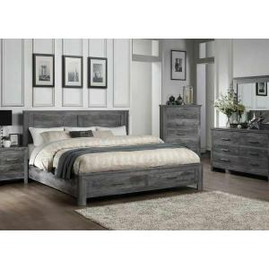 ACME Vidalia Eastern King Bed (Storage) - 27327EK - Rustic - Wood (Solid Pine), Veneer (Melamine), MDF - Rustic Gray Oak