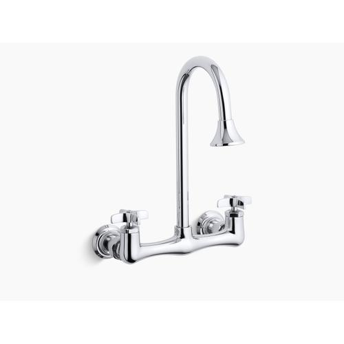 Polished Chrome Double Cross Handle Utility Sink Faucet With Rosespray Gooseneck Spout