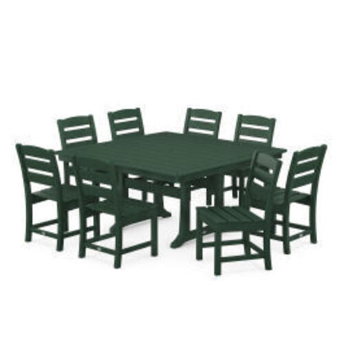 Polywood Furnishings - Lakeside 9-Piece Farmhouse Trestle Dining Set in Green