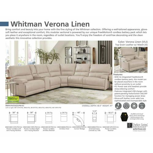 Parker House - WHITMAN - VERONA LINEN - Powered By FreeMotion Power Cordless Armless Recliner
