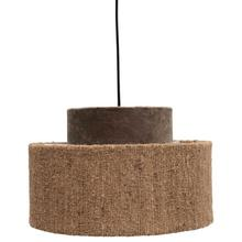 "13-3/4"" Round x 8-1/2""H Cotton Velvet & Boucle Pendant Lamp, 6' Cord, Brown & Tan"