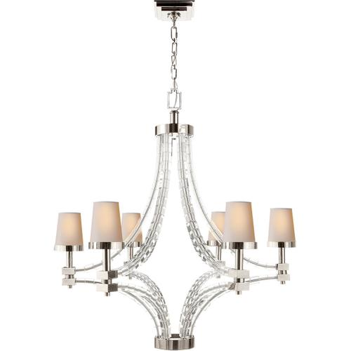 Visual Comfort - E. F. Chapman Crystal Cube 6 Light 35 inch Polished Nickel Chandelier Ceiling Light