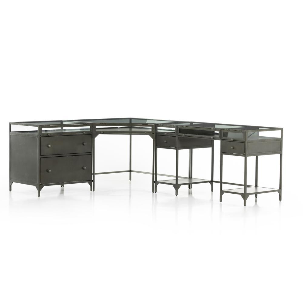 See Details - Gunmetal Finish Shadow Box Desk W/ Filing Cabinet
