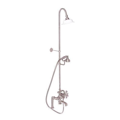 Tub Filler with Diverter Hand-Held Shower and Riser - Cross / Brushed Nickel