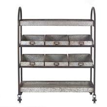 "Product Image - 36-1/4""L x 13""W x 46""H Metal 4-Tier Cart w/ 6 Bins on Casters"