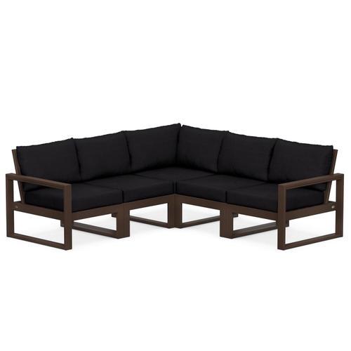 Polywood Furnishings - EDGE 5-Piece Modular Deep Seating Set in Mahogany / Midnight Linen