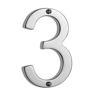 "Samuel Heath - Antique Brass Unlacquered Door numeral ""3"""
