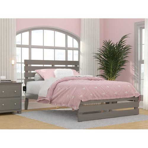 Atlantic Furniture - Oxford Full Bed with Footboard and USB Turbo Charger in Grey