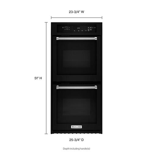 """KitchenAid - 24"""" Double Wall Oven with True Convection Black"""