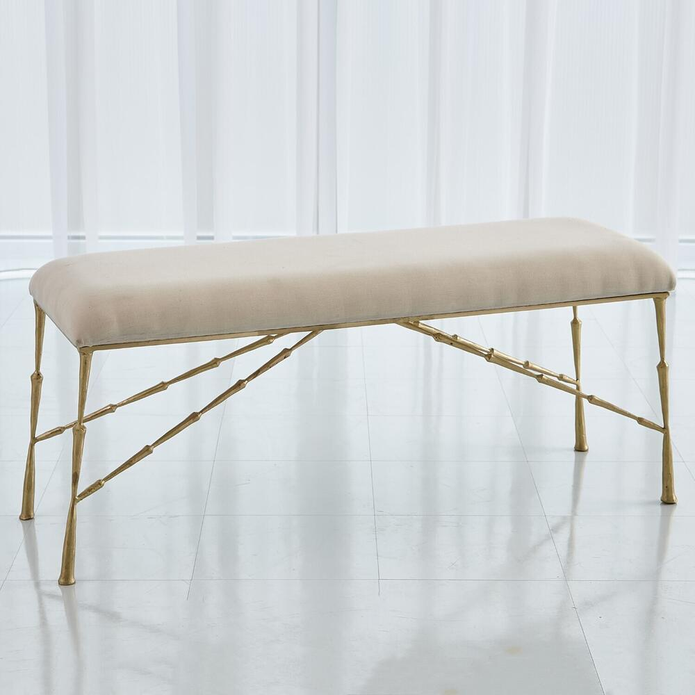 See Details - Spike Bench w/Muslin Cushion-Antique Brass-Lg