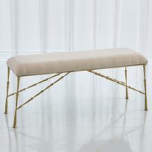 Spike Bench w/Muslin Cushion-Antique Brass-Lg