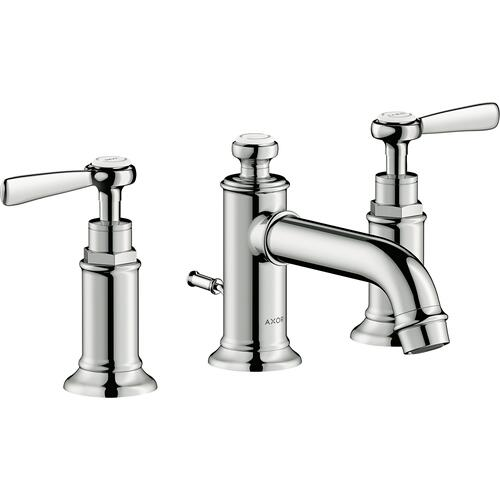 Polished Nickel Widespread Faucet 30 with Lever Handles and Pop-Up Drain, 1.2 GPM