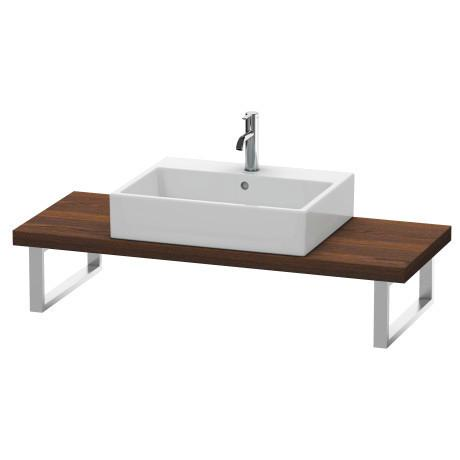 Console For Above-counter Basin And Vanity Basin Compact, Brushed Walnut (real Wood Veneer)