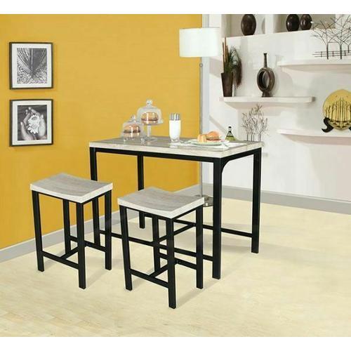 Acme Furniture Inc - ACME Mira 3Pc Pack Counter Height Set - 71560 - Birch & Black