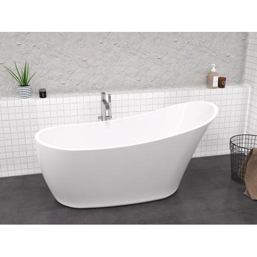 "Lydia 65"" Acrylic Slipper Tub with Integrated Drain and Overflow - Brushed Nickel Drain and Overflow"
