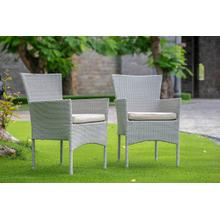 BORK PATIO CHAIR WITH CUSHION, NATURAL LINEN WICKER, AND BEIGE CUSHION