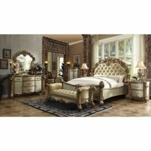 ACME Vendome California King Bed - 22994CK - Bone PU & Gold Patina