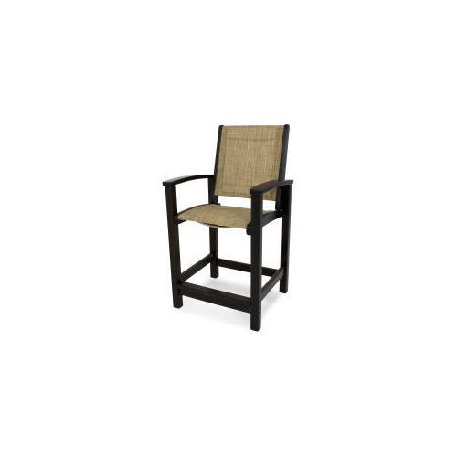 Polywood Furnishings - Coastal Counter Chair in Black / Burlap Sling
