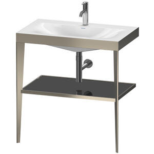 Duravit - Furniture Washbasin C-bonded With Metal Console Floorstanding, Black High Gloss (lacquer)
