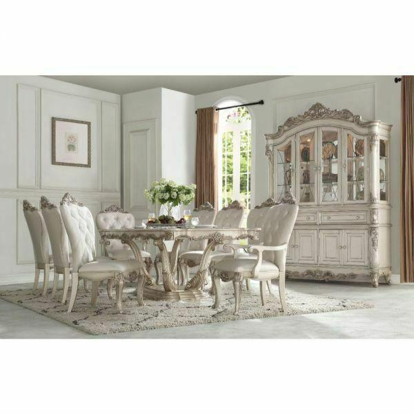 ACME Gorsedd Dining Table w/Pedestal - 67440 - Antique White