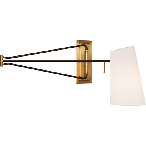 AERIN Keil 51 inch 60 watt Hand-Rubbed Antique Brass and Black Swing Arm Wall Light, Large