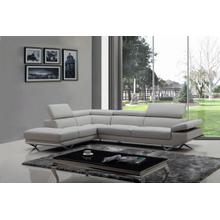 View Product - Divani Casa Quebec - Modern Light Grey Eco-Leather Left Facing Sectional Sofa