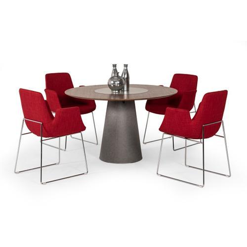 VIG Furniture - Modrest Alanna Modern Round Walnut Dining Table w/ Lazy Susan