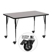 Mobile 24''W x 48''L Rectangular Grey HP Laminate Activity Table - Standard Height Adjustable Legs