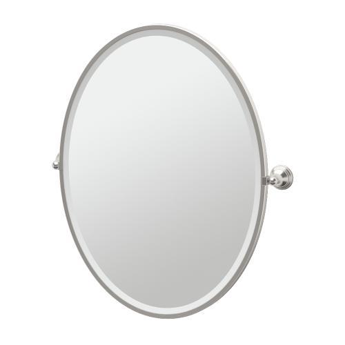 Charlotte Framed Oval Mirror in Satin Nickel