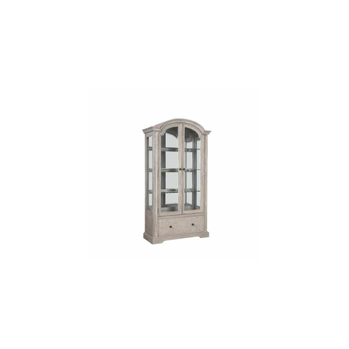 ACME Wynsor Curio Cabinet - 67535 - Traditional - Wood (Poplar), Wood Veneer (Oak), MDF - Antique Champagne