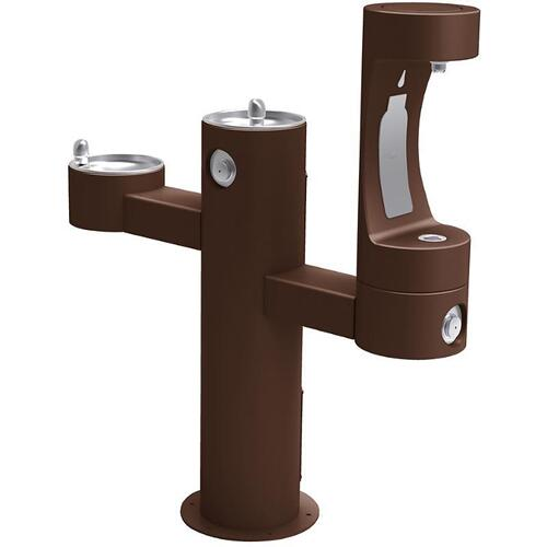 Elkay - Elkay Outdoor EZH2O Bottle Filling Station Tri-Level Pedestal, Non-Filtered Non-Refrigerated Brown