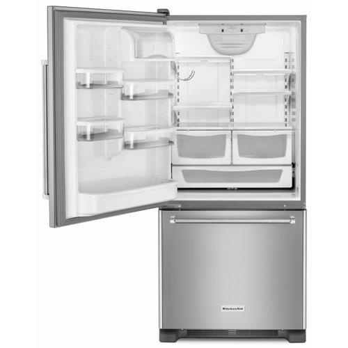 KitchenAid - 19 cu. ft. 30-Inch Width Full Depth Non Dispense Bottom Mount Refrigerator - Stainless Steel
