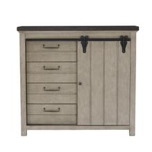 See Details - 4 Drawer Sliding Door Chest in Farmhouse Grey