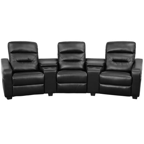 3-Seat Reclining Black Leather Theater Seating Unit with Cup Holders