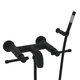 Campo Wall Mount Exposed Tub Filler with Handshower - Matte Black with Industrial Metal Lever Handle