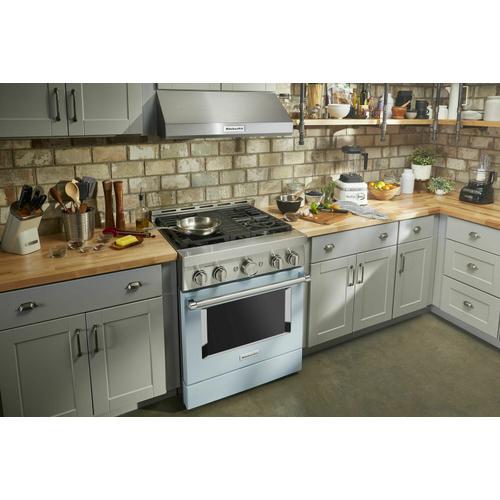 KitchenAid - KitchenAid® 30'' Smart Commercial-Style Gas Range with 4 Burners - Misty Blue